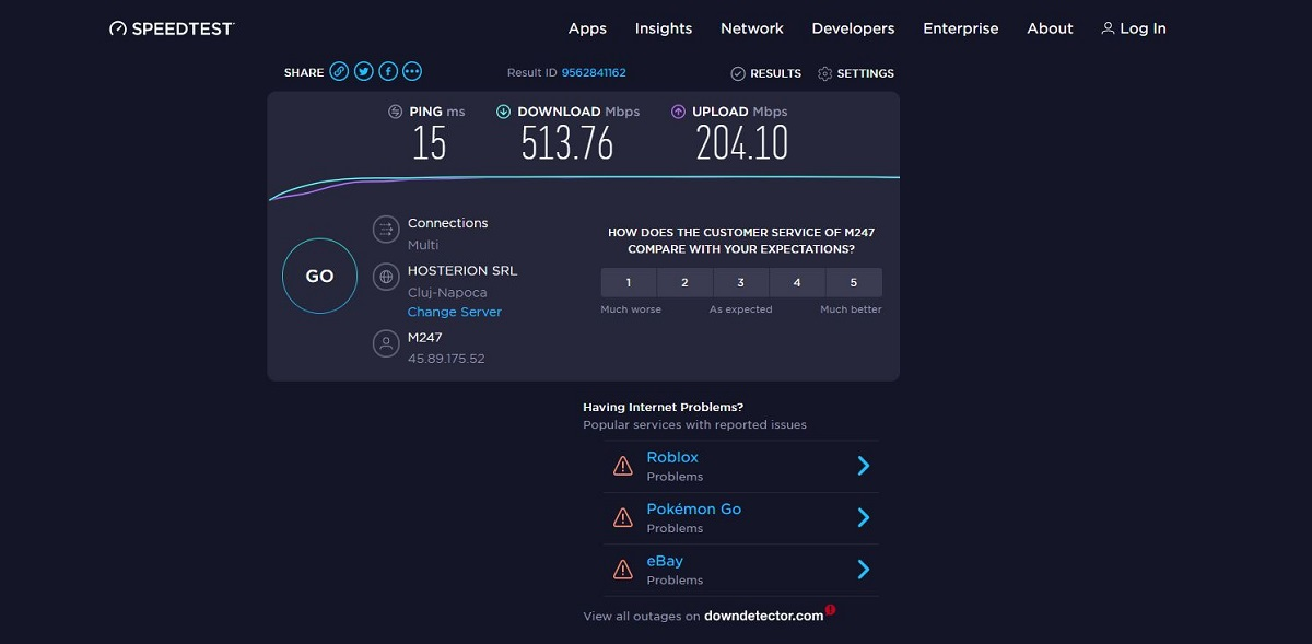 Online speeds with IKEv2