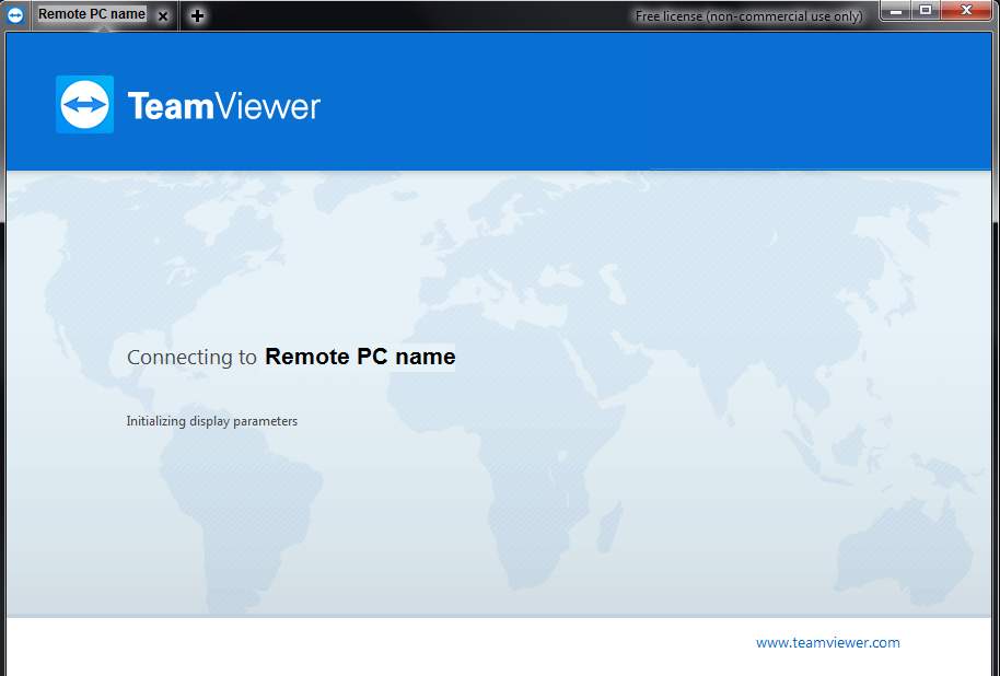 loading screen for TeamViewer connection