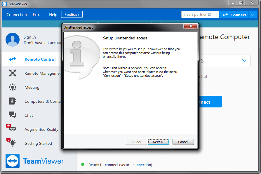 TeamViewer unattended access prompt