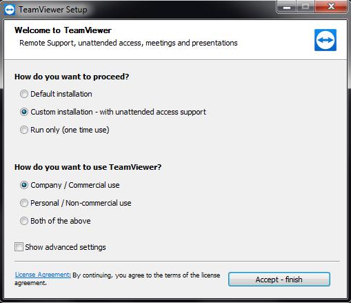 Unattended Access TeamViewer Installation Wizard