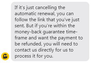VPN refund info from CyberGhost customer support