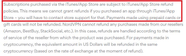 VPN refund policy for NordVPN