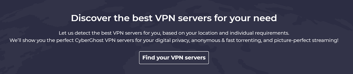 CyberGhost showing you the optimal VPN server location