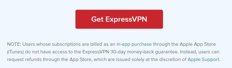 ExpressVPN App Store refund policy