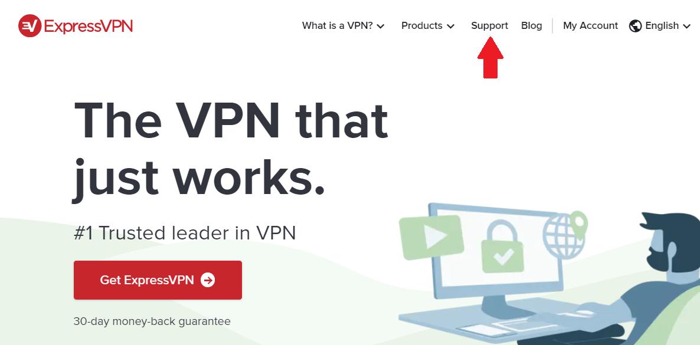 Support button on ExpressVPN homepage