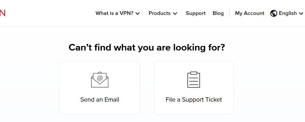 Support email and ticket buttons for ExpressVPN