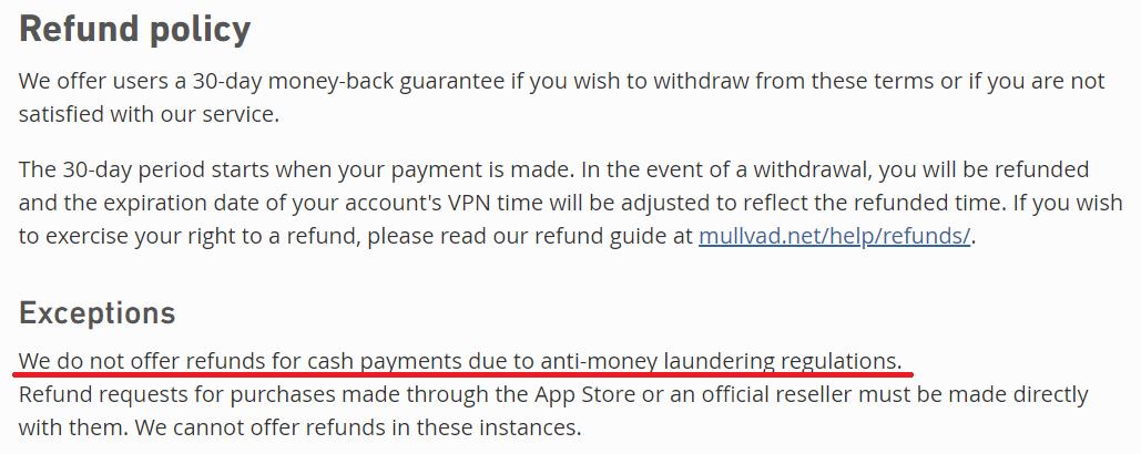 Mullvad VPN money-back guarantee