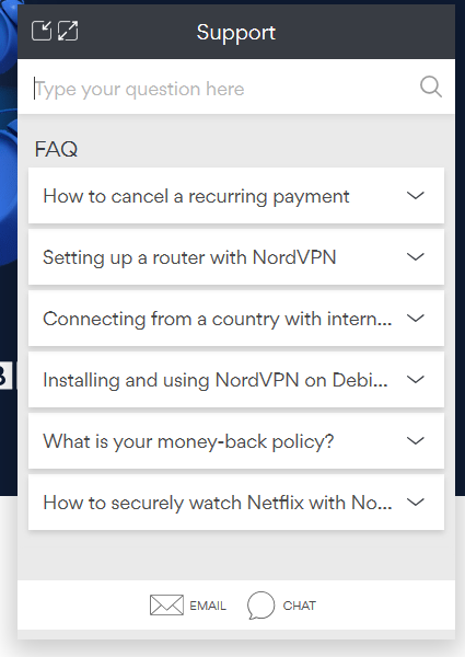 Live chat message box for NordVPN