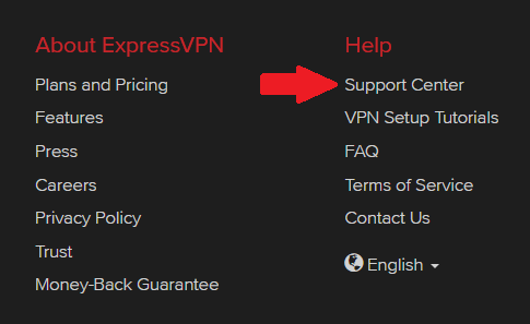 VPN customer support button for ExpressVPN